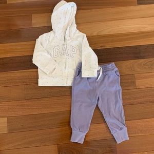 Baby gap hoodie and jogger pants. Toddler girl